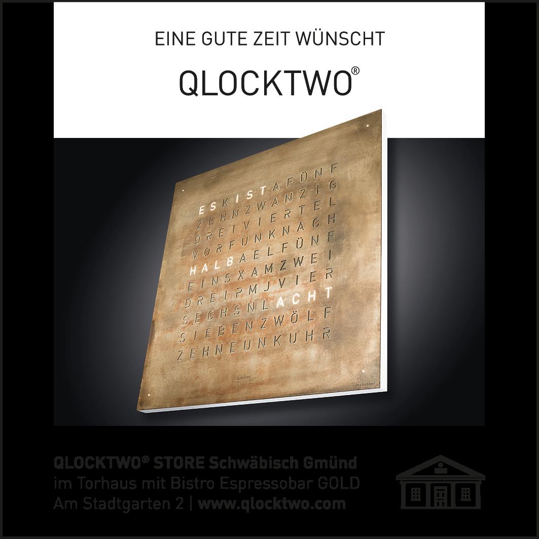 Anzeige von QLOCKTWO für den Gmünder Stadtlauf